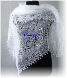 Пуховый оренбургкий белый палантин с чудесным ажуром