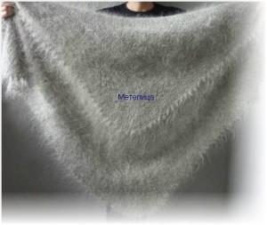 Оренбургский пуховый платок светло-серого цвета