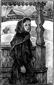 Пуховый платок зимой