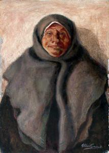 Старая бабушка в пуховом платке