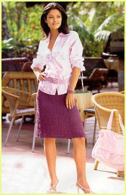 Сиреневая вязаная юбка