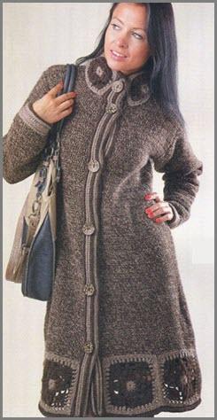 Тёплое вязаное пальто