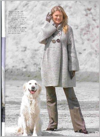 Модное вязаное пальто