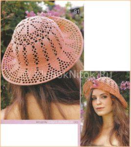 Летняя вязаная шляпка