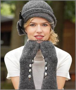 Вязаные шляпка и перчатки