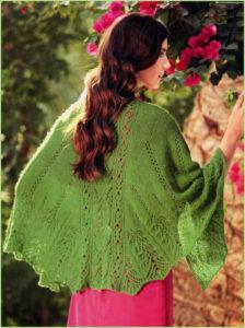 Полукруглая зелёная шаль