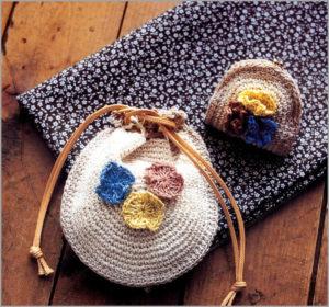 Вязаные сумка и кошелёк