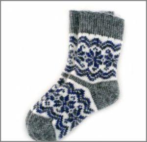 Детские носки с норвежским узором