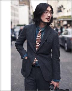 На фото парень в вязаном галстуке