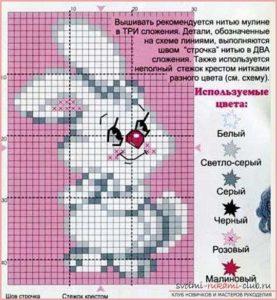 Вышивка заяц